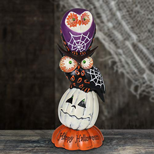 Exhart Spider Web Owls and Pumpkins Centerpiece, Halloween Statue, Stacked Pillar, Inscribed Happy Halloween, -