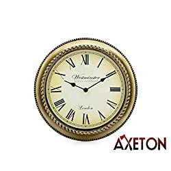 Westminster Decorative Living Room Roman Numeral Wall Clock, Gold finish, Contemporary style decal, 13 Inches, Large Numbers, Elegance Display