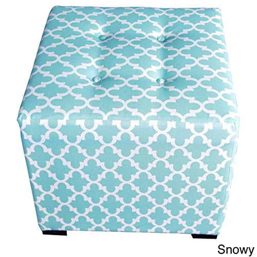 MJL Furniture Designs Merton Collection, Fabric Upholstered Modern Cube Foot Rest Ottoman with 4 Button Tufting, Fulton Series, Snowy by MJL Furniture Designs