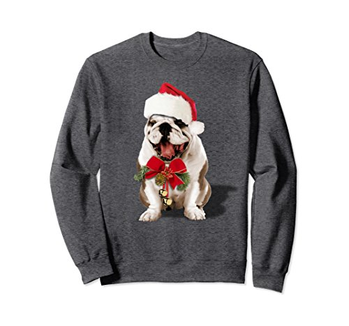 Bulldog Christmas (Unisex Hybrid Santa Bulldog Christmas Sweatshirt XL: Dark Heather)