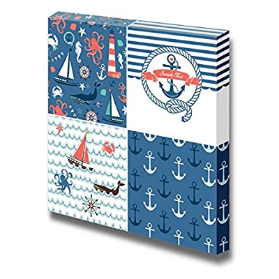 Canvas Prints Wall Art - A Set of 4 Unique Nautical Backgrounds. Blue, Red and White Seamless Patterns - 12