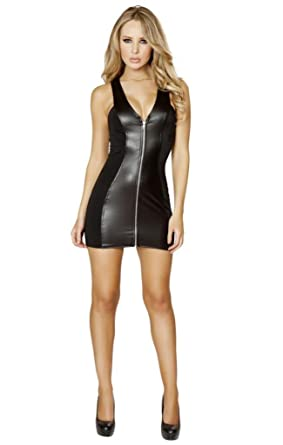 a7122af9503 Image Unavailable. Image not available for. Color: Sexy Zip Up Front Halter  Contrast Panel Mini Dress ...