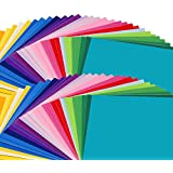 """Inscraft 96 Sheets Premium Permanent Self Adhesive Vinyl Sheets, Double of 48 Pack 12"""" x 12"""" Assorted Colors with 6 Transfer Paper Sheets for Craft Cutters, Cricut, Silhouette Cameo Machines"""
