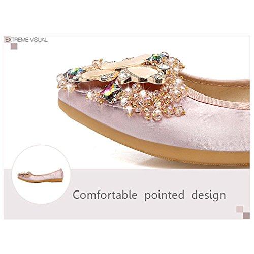 de Zapatos para Zhu Zapatos Punta York ballet Rosado vidrio Mujer Suave Flats Rhinestone mujer de F40wnnq5