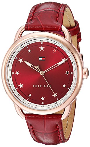 Tommy Hilfiger Women's 'LUCY' Quartz Stainless Steel and Leather Casual Watch, Color:Red (Model: 1781740)