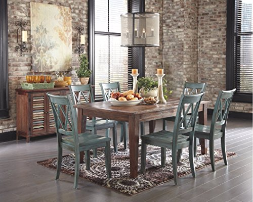 Ashley Furniture Signature Design - Mestler Dining Room Side Chair - Wood Seat - Set of 2 - Blue/Green - SET OF 2  VINTAGE INSPIRED DINING ROOM CHAIRS: Classic open double X back dining chairs are both rustic and modern, and ideal for the kitchen, dining room or breakfast room UNIQUELY CRAFTED: Sturdy wood frames DISTINCTIVE GREEN BLUE HUE: Enjoy the unique time worn antique blue green patina finish - kitchen-dining-room-furniture, kitchen-dining-room, kitchen-dining-room-chairs - 511XMhj5FhL -
