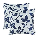 CaliTime Pack of 2 Soft Throw Pillow Covers Cases for Couch Sofa Home Decoration Cute Growing Leaves 18 X 18 Inches Navy Blue