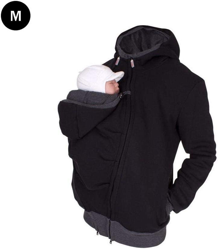 Per 2 in 1 Multi-Function Kangaroo Hooded Dad Mens Sweater with Baby Carrier Pocket Mens Fleece for Daddy