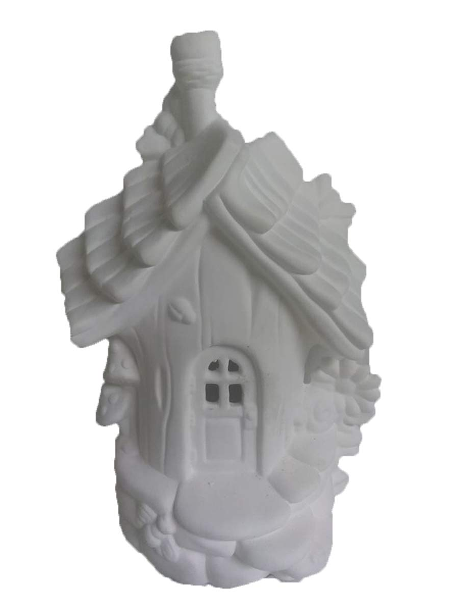 Bumble Bee Abode 9'' x 6'' Fairy House Ceramic Bisque, Ready to Paint