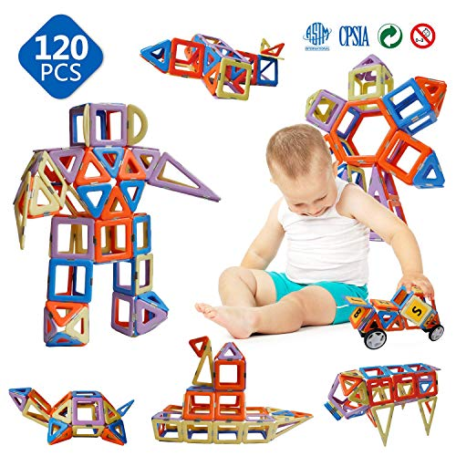 Magnetic Toys - Magnetic Blocks for Kids Boys and Girls Preschool Toys Magnet Building Sets Magnetic Buliding Blocks Stem Toys 120 Pcs
