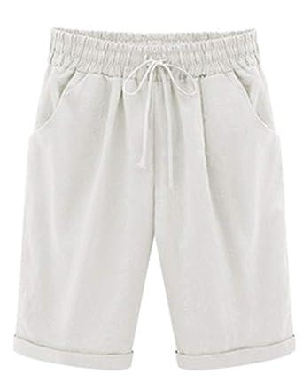 9dcbad486d746 Elonglin Shorts Uni-Couleur avec élastique Ceinture de Pantalon Bermuda  Femme en Coton Coupe Large
