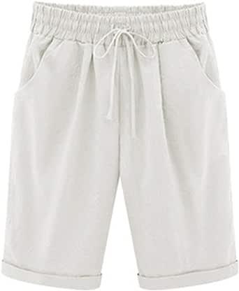 Elonglin Bermudas para mujer, de algodón, hasta la rodilla, pantalones cortos de verano, con cordón, tallas grandes, sueltos y elásticos