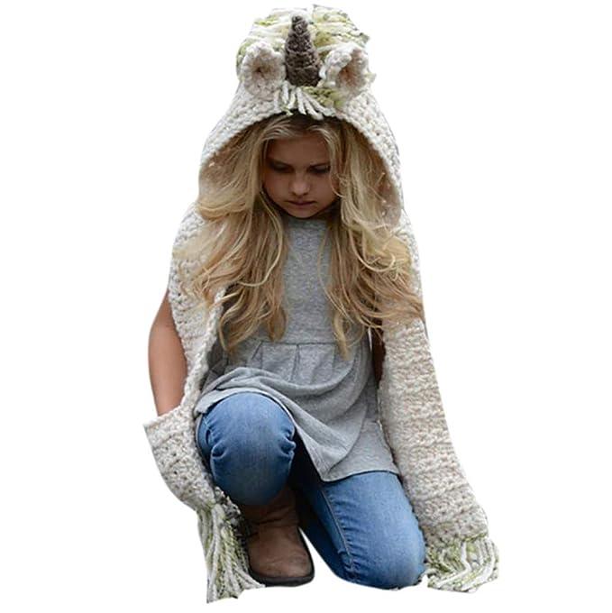 Famesale Mädchen Hoodie Hut Schal Winter Mütze Und Schal Tasche Mit