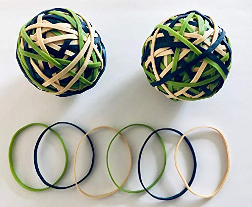 Rubber Band Ball ; Made Using FSC-Certified Natural Rubber ; Biodegradable ;Three Assorted Colors (2)
