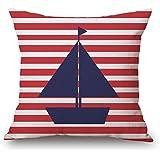 CaseShell Nautical Pillow Covers Anchor Sailor Sailing Print Cushion Case Cotton Linen Ocean Pillowcase Home Decor Mediterranean Pillow Sham 18x18 Inch White and Red Stripe Blue Sailboat