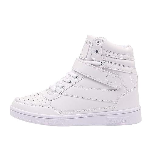 Moda para Mujer con Cordones Zapatillas de Deporte con Cuña Zapatillas de Deporte Zapatillas Altas y Altas Planas Botines Planos: Amazon.es: Zapatos y ...
