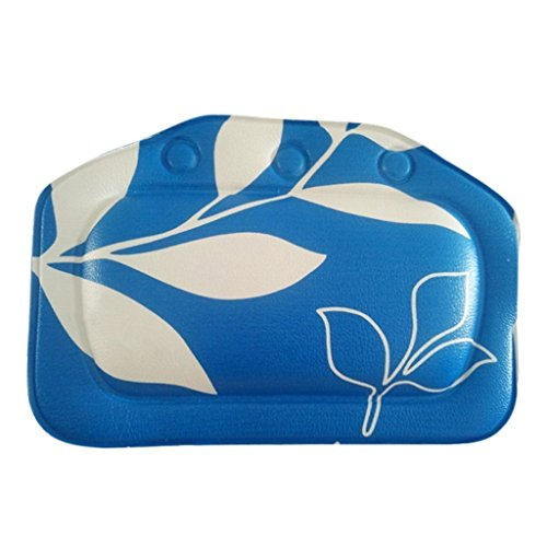 Sky Fish Bath Pillow Bathtub Pillow Bath Headrest Bathroom Pillow Sponge Bath Pillow suitable for most bath tub Printed with leaves pattern blue