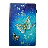 Folio Case for All-New Amazon Fire HD 10 Tablet (2017&2015 Release) - Slim Fit PU Leather Standing Protective Cover Auto Wake / Sleep, compatible with Fire HD10 2017 and Fire HD10 2015 (Butterfly)
