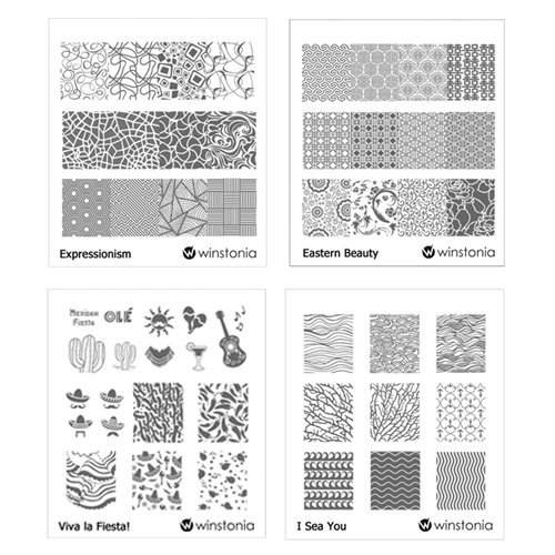 Winstonia Nail Art Stamping Image Plate Bundle Set 6 - Expressionism, Eastern Beauty, Viva la Fiesta!, I Sea You