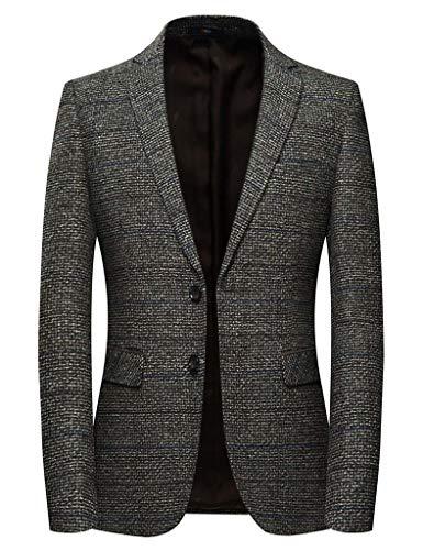 (INSFITY Men's Slim Fit Wool Blend Sport Coat Blazer Jacket Brown)