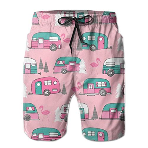 - FANTASY SPACE Men's Happy Camper Pink Retro Flamingo Camping Cargo Short Swimwear for Beach Gym Hiking - Extreme Comfort Quick Dry Loose Drawstring Board Shorts Big & Tall Cargo Short