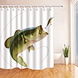 Clear Shower Curtain with Fish Design NYMB 3D Digital Printing Fishing Shower Curtain, Bait with Fishing Line Eatting Litter Fish, Mildew Resistant Polyester Fabric Bathroom Decor, Bath Curtains Hooks Included, 69X70 inches (Multi17)
