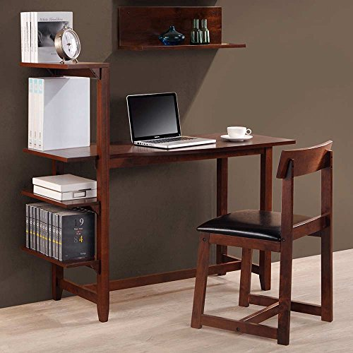 Washington Wood Desk and Chair Combo - Attached Shelves, Cla