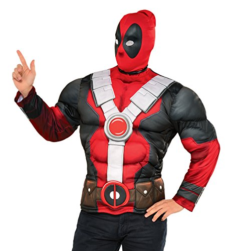 Deadpool Adult Mens Costumes (Marvel Men's Deadpool Muscle Chest Costume Top, Multi, One Size)