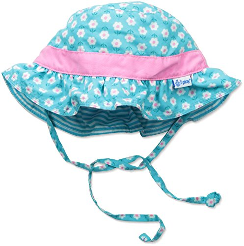 I play. Baby Girls' Reversible Ruffle Bucket Sun Protection Hat, Aqua, 9-18 Months