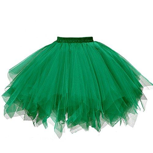 Musever 1950s Vintage Ballet Bubble Skirt Tulle Petticoat Puffy Tutu Dark Green Small/Medium