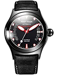 Reef Tiger Sport Watch Luminous Markers Black Steel Automatic Watches with Date RGA704 (RGA704-BBBR)