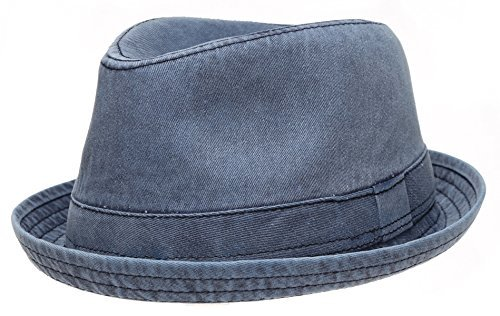 Men's Casual Vintage Style Washed Cotton Fedora Hat (F2232-NAVY,SM) ()