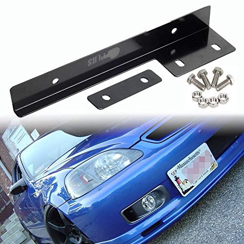 SIZZLEAUTO JDM Style Universal Black Front Bumper License Plate Mount Bracket Holder Relocator Bar