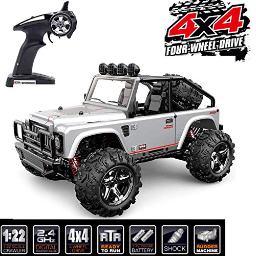 Rc Car,Tecesy 1:22 Scale Electric Jeep 4WD Fast Race Cars High Speed 30Mph 2.4G Radio Remote Control Truck High Speed Off Road Drift Rc Buggy with LED Lights RTR BG1511 (Gray)