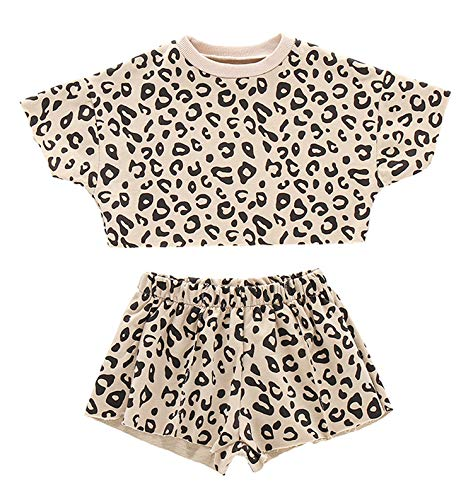 Kids Toddler Baby Girls Shorts Outfits Set Leopard Print Ruffle Dress T-Shirt Tops+Short Pants 2Pc Summer Clothes Set (Apricot, 18-24 Months)
