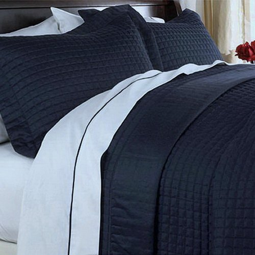 Modern Solid Pattern Style Quilt Coverlet and Sham Set All Season Hypo-Allergic Lightweight Reversible 3 Piece Full/Queen Bedding Navy Blue
