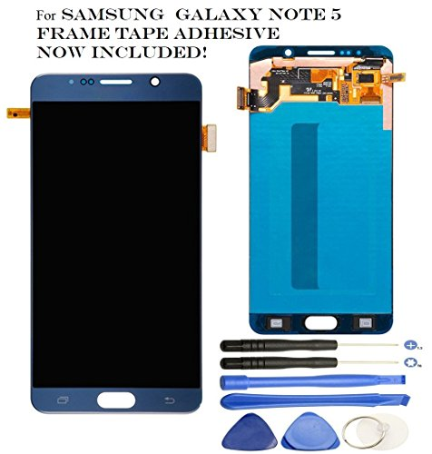 Galaxy Note 5 LCD - OEM Screen Replacement for Samsung Galaxy Note 5 - LCD Display Screen + Touch Digitizer Full Assembly, Compatible with N920T N920V N920P, Super AMOLED + Tools (Black/Blue Sapphire) by Veritas Cellular