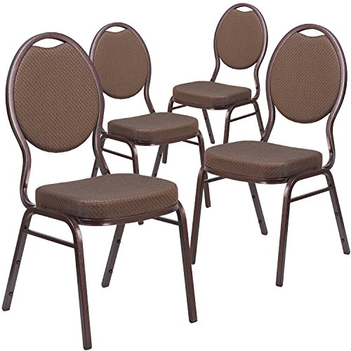 Flash Furniture 4 Pk. HERCULES Series Teardrop Back Stacking Banquet Chair in Brown Patterned Fabric - Copper Vein Frame