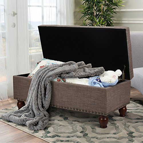 Asense Fabric Rectangle Tufted Lift Top Storage Ottoman Bench, Footstool with Solid Wood Legs, Nailhead Trim, Grey Brown, Height 20 Inches