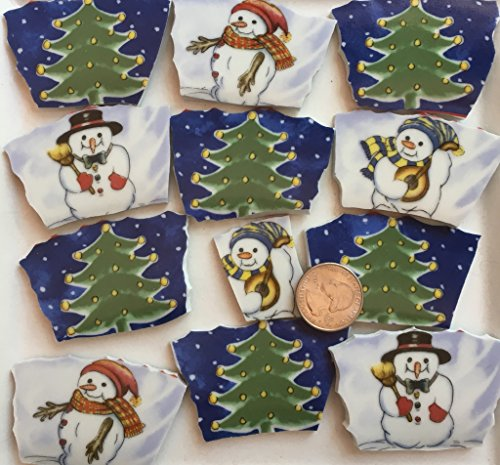 (Mosaic Art & Craft Supply ~ (12) Large Christmas Tree & Snowman Tiles(T#800))