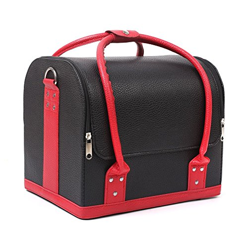 Homfa Kosmetikkoffer Beauty Case Makeup Koffer Schminkkoffer Schmuckkoffer Friseurkoffer schwarz und rot Leder (Schwarz und Rot)