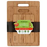 Freshware BC-200PK Bamboo Cutting Set of 3 Eco-Friendly Wood Chopping Boards for Food Prep, Meat, Vegetables, Fruits, Crackers & Cheese, 3 Piece, 100% Natural