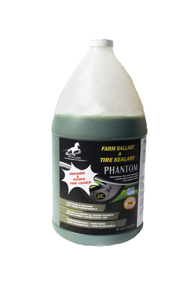 Phantom Farm Ballast and Tire Sealant - Superior Performance - Tire Repair - Stop Leaks - Extend Tire Life - All Weather - Slow Speed - ARDL Approved (1 Gal Jug, Phantom) by STALLION Tire Management Solution