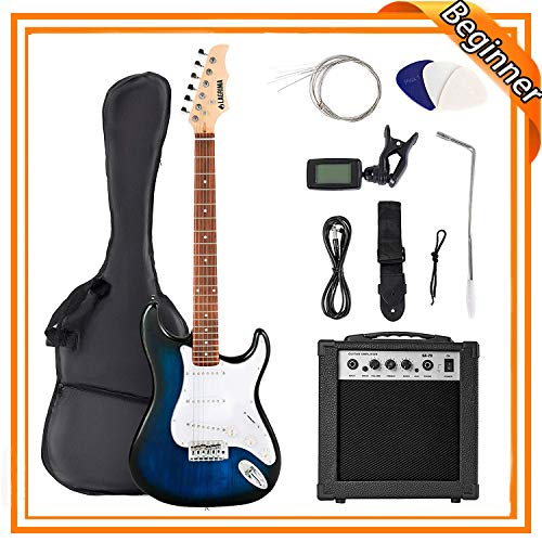 LAGRIMA 39″ Full Size Beginner Electric Guitar Starter Kit with Case, Strap, Strings, Pick, Tremolo Bar (Sunburst)