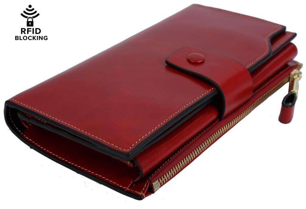 YALUXE Women's Wax Genuine Leather RFID Blocking Clutch Wallet Wallets for Women Red by YALUXE (Image #6)