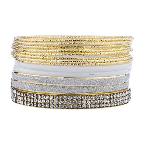 Swarovski Rhinestone Bangle (Lux Accessories Goldtone White Crystal Rhinestone Glitter Multi Bangle Bracelet Pack Set)