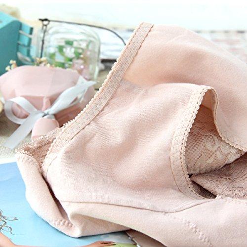 Mujer Atractiva De La Alta Cintura De La Ropa Interior Del Algodón Puro De La Entrepierna Bolsa Nalgas Sin Aliento Atractivas Del Algodón Del Cordón Briefs Pink