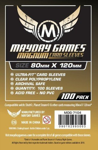 Magnum Gold Ultra-Fit Sleeve: 80 MM X 120 MM Card Sized -''Dixit'' - 100 per pack - 2 pack by Mayday Games