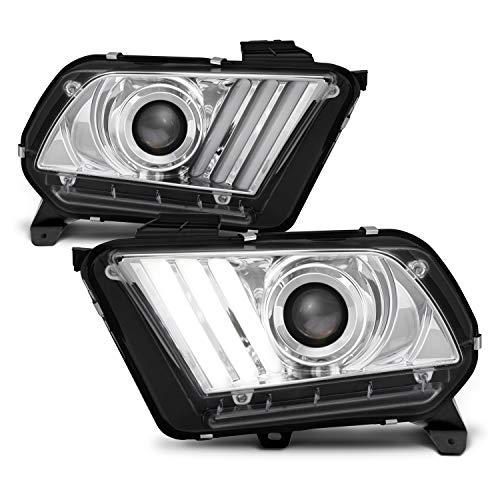[Sequential Tube] For 2013-2014 Ford Mustang LED Signal [HID/Xenon] Projector Chrome Headlights Driver+Passenger Pair