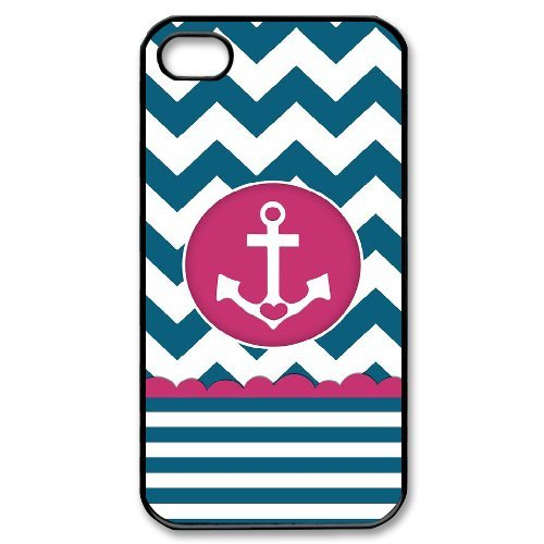Alexis iPhone 4,4s Case,Personalized Custom Cute Chevron Anchor Printed,Unique Design Protective TPU Hard Phone Case Cover